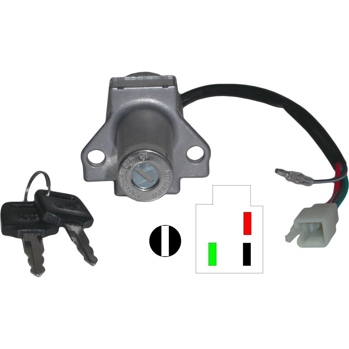 Aw Motorcycle Parts  Ignition Switch Honda Xl125r  Mbx50  Mbx80  Mbx125rs 4 Wires