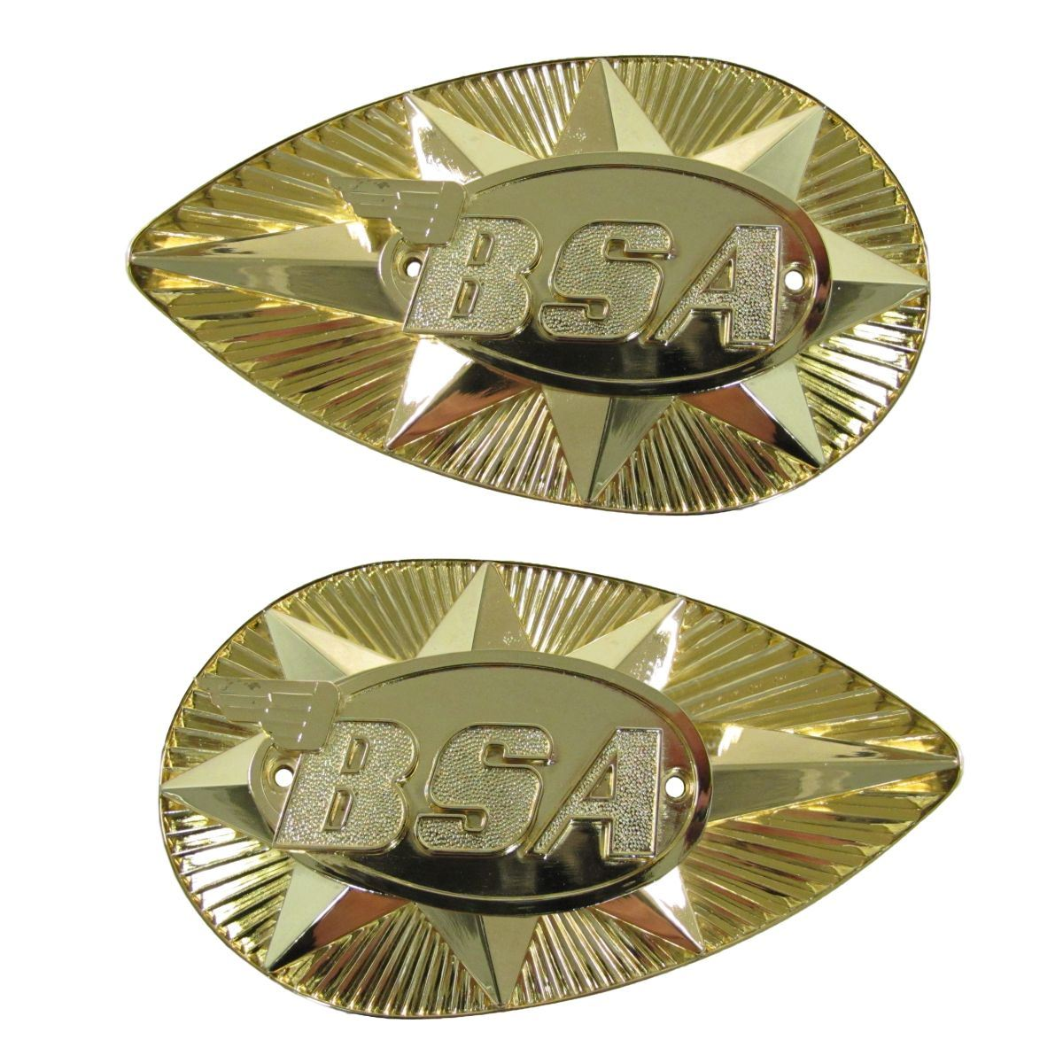 Pair Tank Badges Gold Pear Shape as fitted to BSA B25//A65